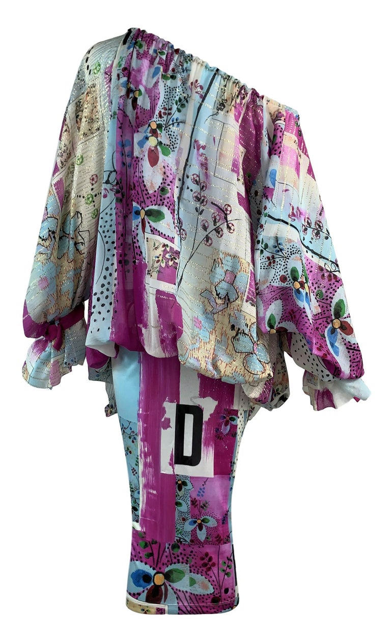 Gray S/S 2003 Christian by Dior John Galliano Runway Graffiti Plunging Buckles Dress For Sale