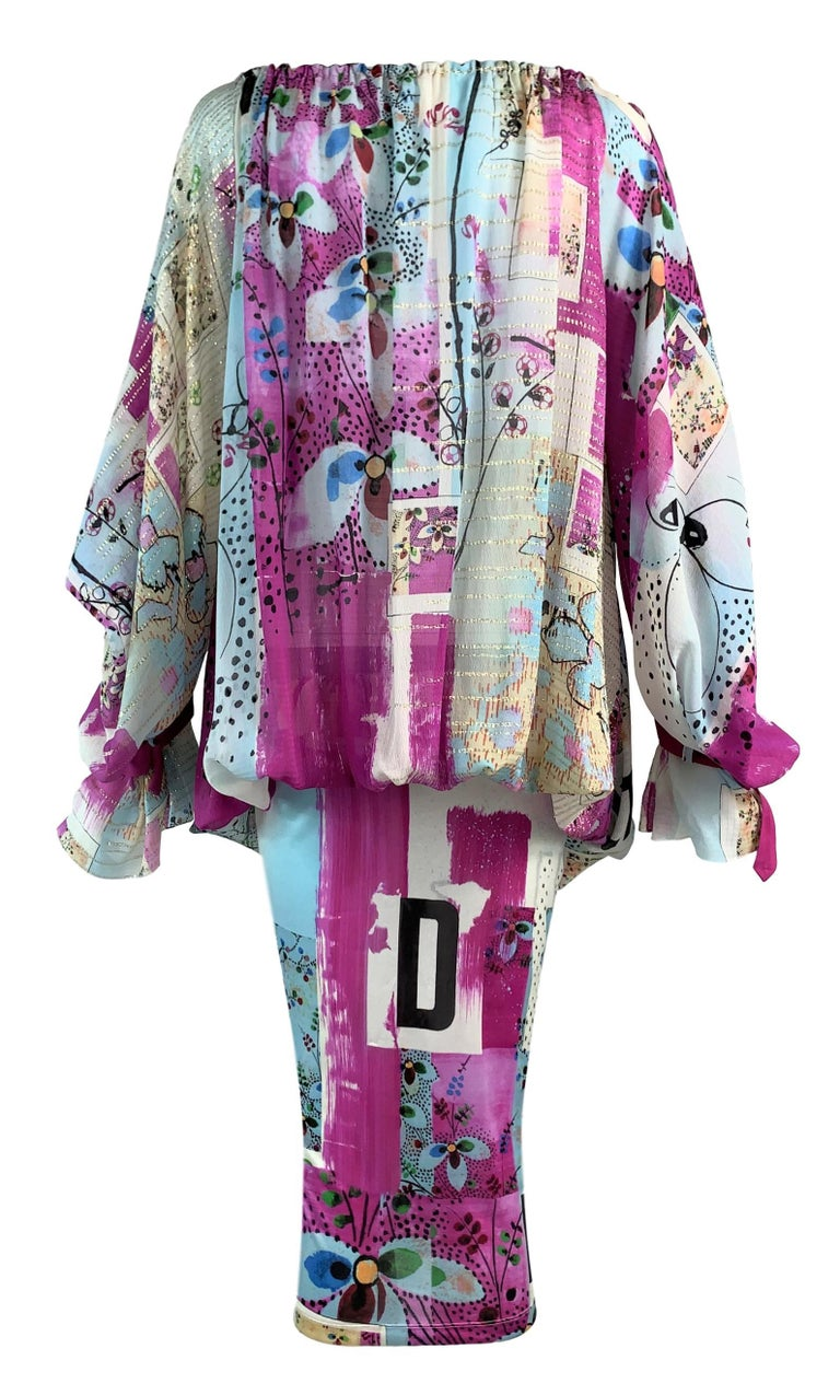 S/S 2003 Christian by Dior John Galliano Runway Graffiti Plunging Buckles Dress In Excellent Condition For Sale In Yukon, OK