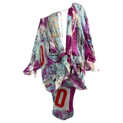 S/S 2003 Christian by Dior John Galliano Runway Graffiti Plunging Buckles Dress