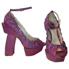 S/S 2003 Christian Dior John Galliano Haute Couture Samurai Japanese Pink Heels