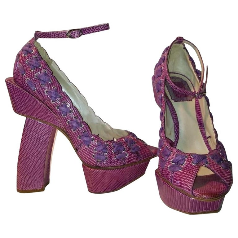 S/S 2003 Christian Dior John Galliano Haute Couture Samurai Japanese Pink Heels For Sale