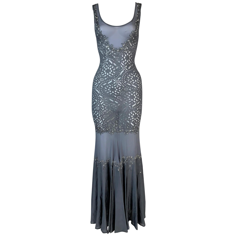 S/S 2003 Christian Dior John Galliano Sheer Blue Silk Beaded Mermaid Maxi Dress