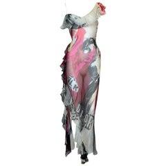 S/S 2003 Christian Dior John Galliano Sheer Silk Punk Rock Maxi Dress