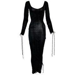 S/S 2003 Dolce & Gabbana Runway Black Ruched Wiggle Dress 38