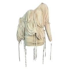 S/S 2003 Dolce & Gabbana Runway Champagne Slinky Off Shoulder Top & Skirt Set