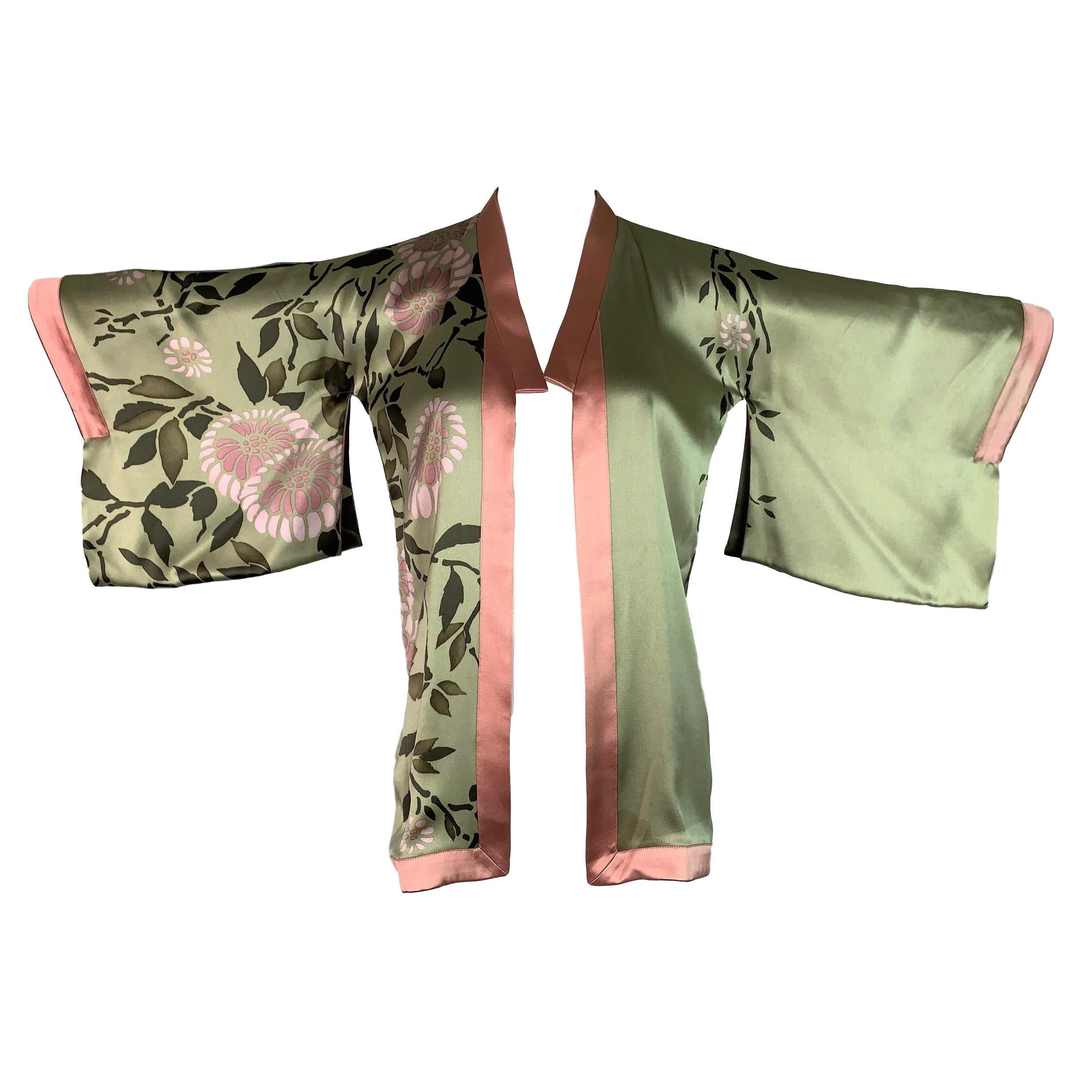 S/S 2003 Gucci by Tom Ford Documented Silk Green Pink Kimono Top
