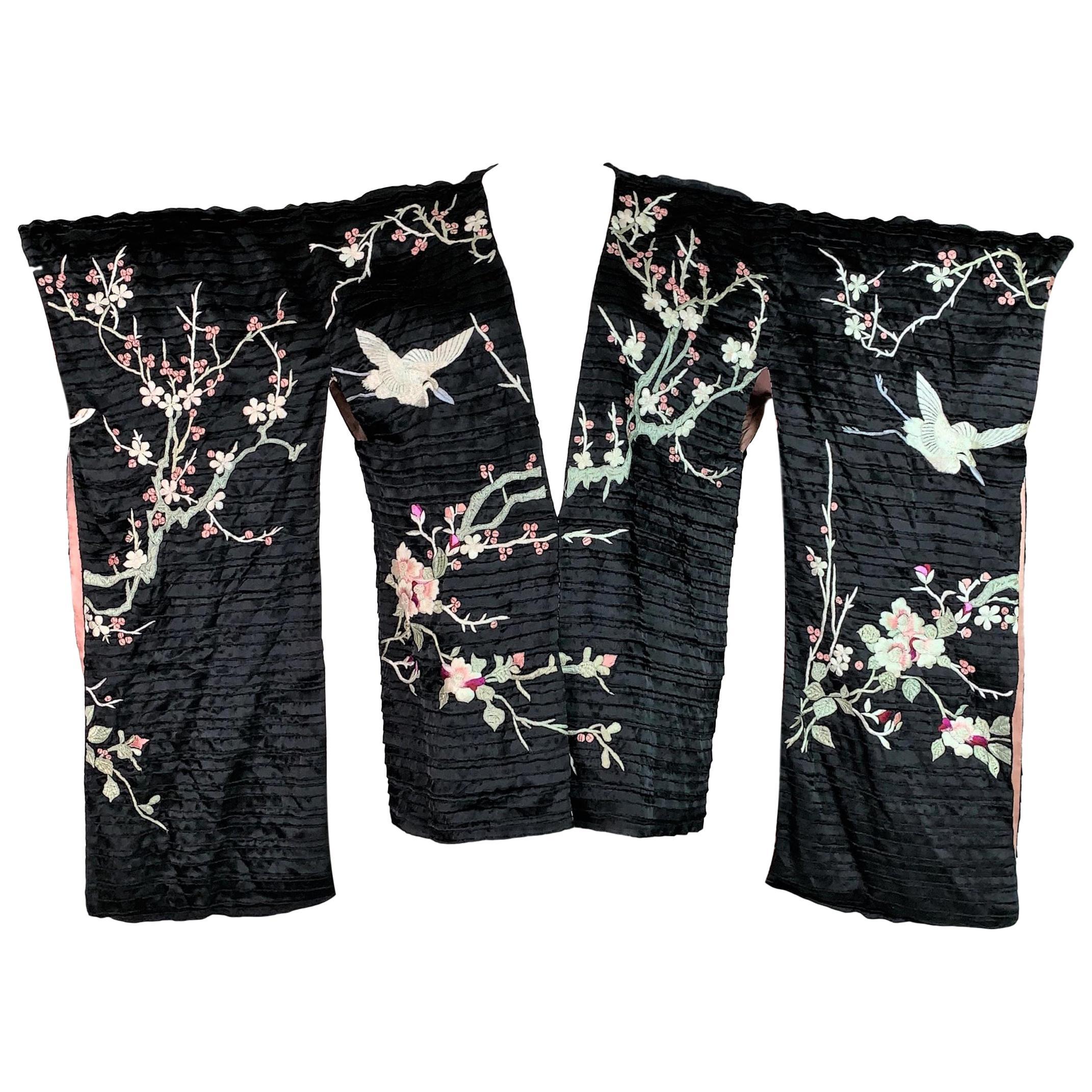 S/S 2003 Gucci Tom Ford Runway Black Embroidered Cherry Blossom Kimono Dress