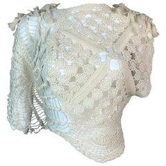 S/S 2003 Jean Paul Gaultier Sheer Ivory Knit Crop Top