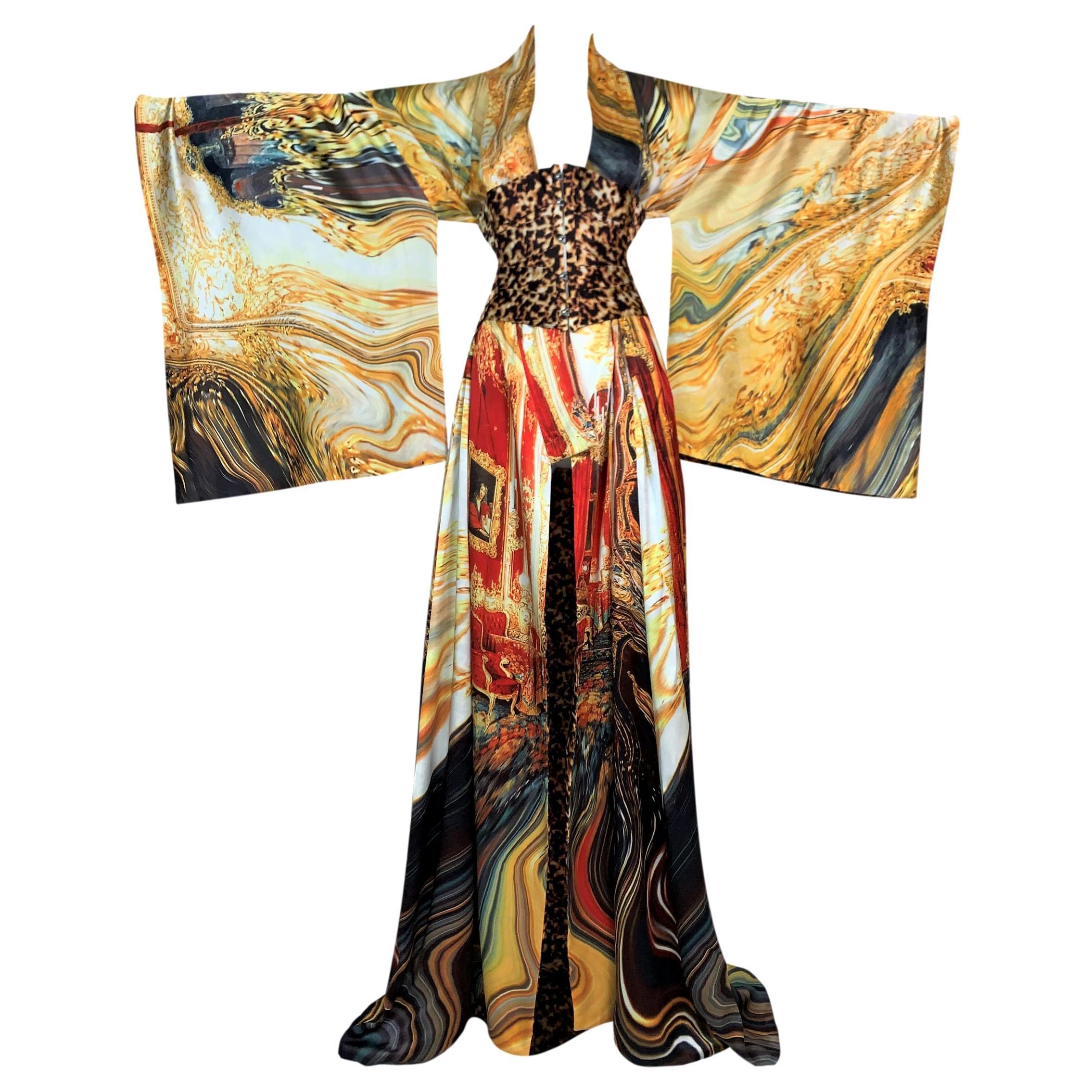 S/S 2003 Roberto Cavalli OOAK Extra Long Silk Reversible Kimono Dress w Corset