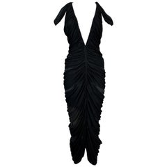 S/S 2003 Yves Saint Laurent Plunging Black Ruched Mummy Wrap Wiggle Dress