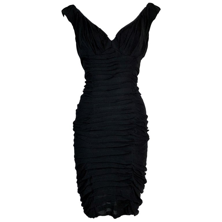 S/S 2003 Yves Saint Laurent Tom Ford 50's Pin-Up Black Silk Ruched Wiggle Dress  For Sale