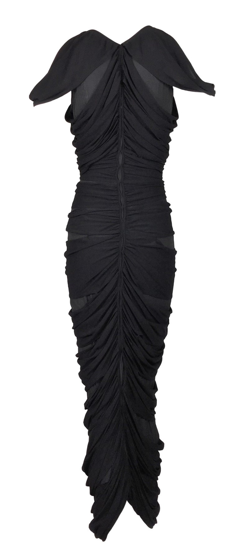 S/S 2003 Yves Saint Laurent Tom Ford Sheer Black Mummy Wrap Cut-Out Dress In Good Condition In Yukon, OK