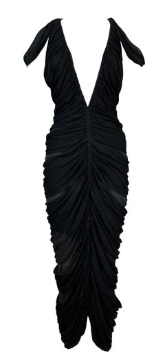 S/S 2003 Yves Saint Laurent Tom Ford Sheer Black Mummy Wrap Cut-Out Dress