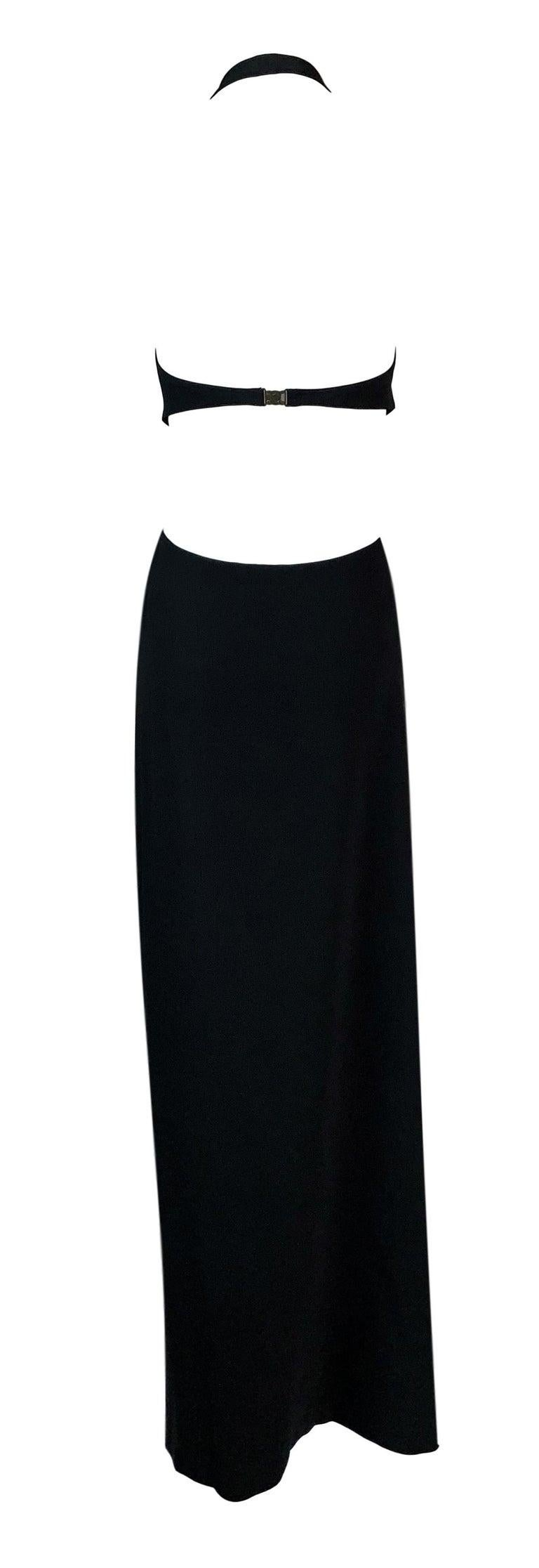 S/S 2004 Celine by Michael Kors Long Black Cut-Out Plunging Dress 36 In Good Condition For Sale In Yukon, OK