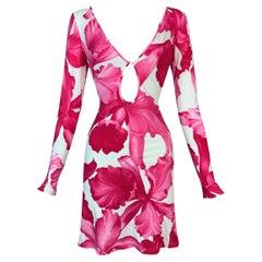 S/S 2004 Celine Michael Kors Pink & White Floral Plunging Keyhole Mini Dress