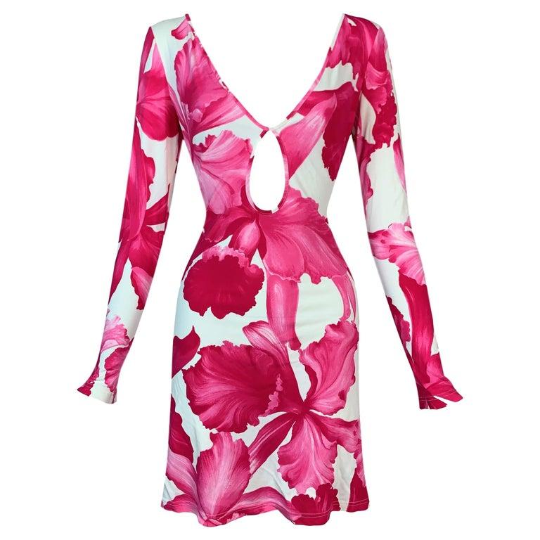 S/S 2004 Celine Michael Kors Pink & White Floral Plunging Keyhole Mini Dress For Sale