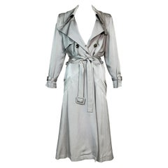 S/S 2004 Christian Dior by John Galliano Silver Satin Trench Coat Jacket