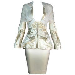 S/S 2004 Christian Dior John Galliano Ivory Satin Tulle Plunging Skirt Suit