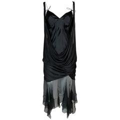 S/S 2004 Christian Dior John Galliano Layered Black Sheer Silk Mini Dress