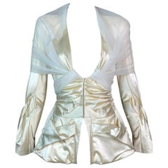 S/S 2004 Christian Dior John Galliano Plunging Ivory Corset Jacket