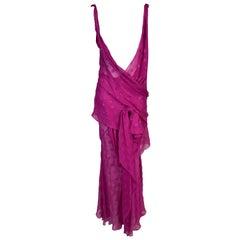 S/S 2004 Christian Dior John Galliano Runway Sheer Hot Pink Plunging Dress