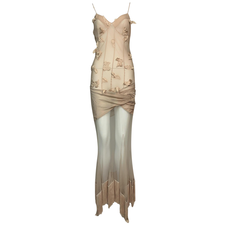 S/S 2004 Christian Dior John Galliano Sheer Nude Silk Mesh Fringe Maxi Dress