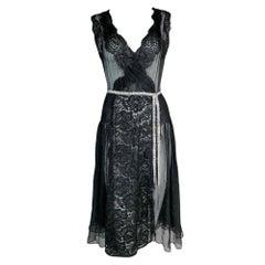 S/S 2004 Dolce & Gabbana Sheer Black Silk & Lace 20's Style Crystal Belt Dress