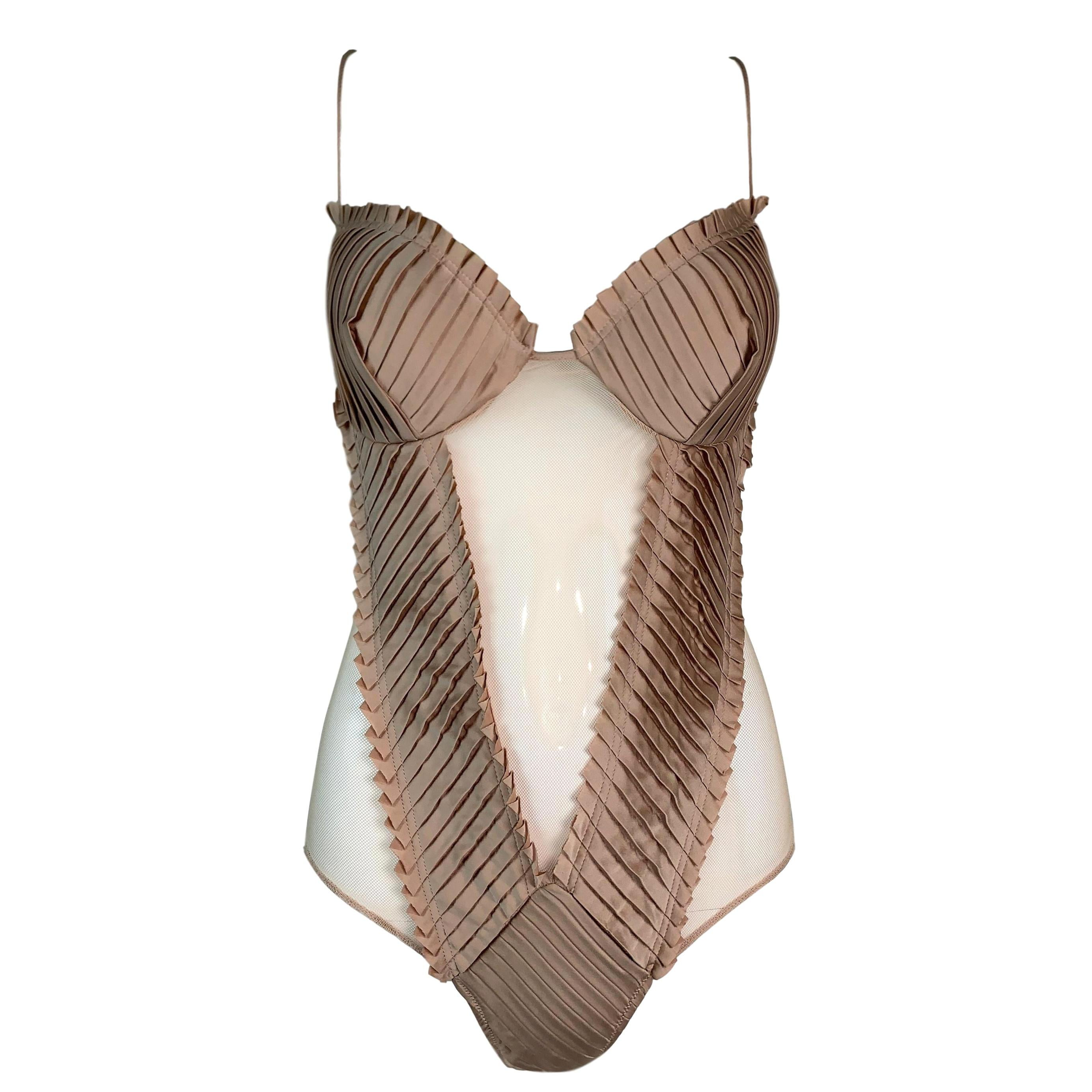 S/S 2004 Gucci by Tom Ford Runway Sheer Nude Mesh Bodysuit Top