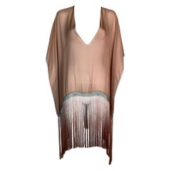 S/S 2004 Gucci Tom Ford Runway Sheer Pink Runway Fringe Chainmail Poncho Top