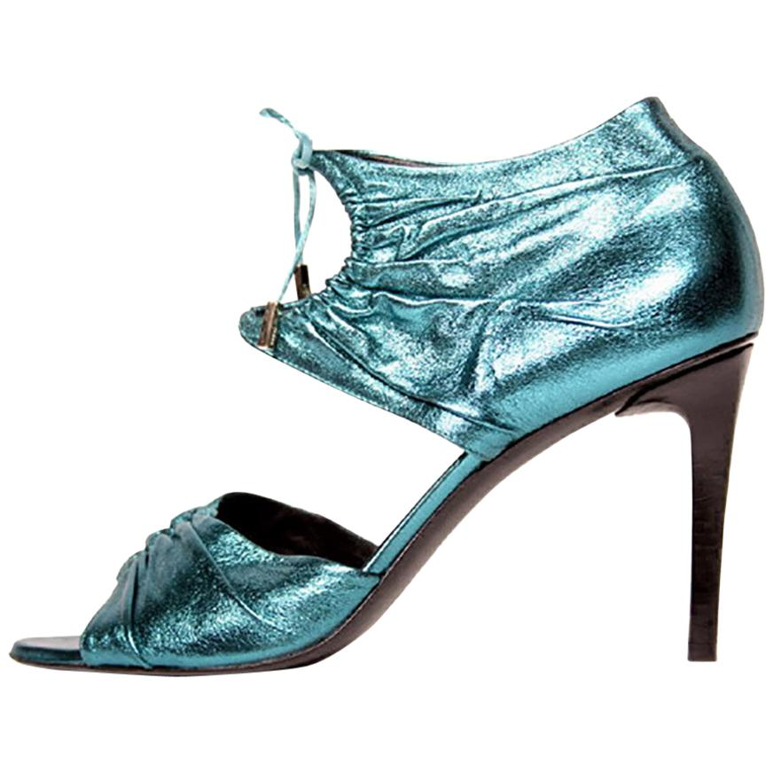 S/S 2004 Tom Ford for Gucci Teal lamé leather high heel shoes