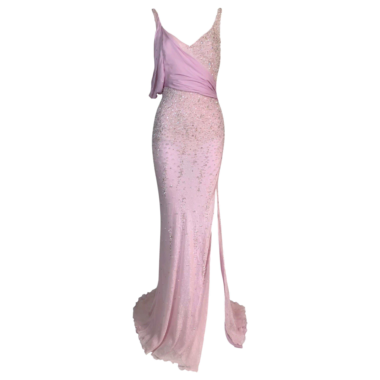 S/S 2005 Atelier Versace Runway Pink Silk Beaded High Slit Gown Dress
