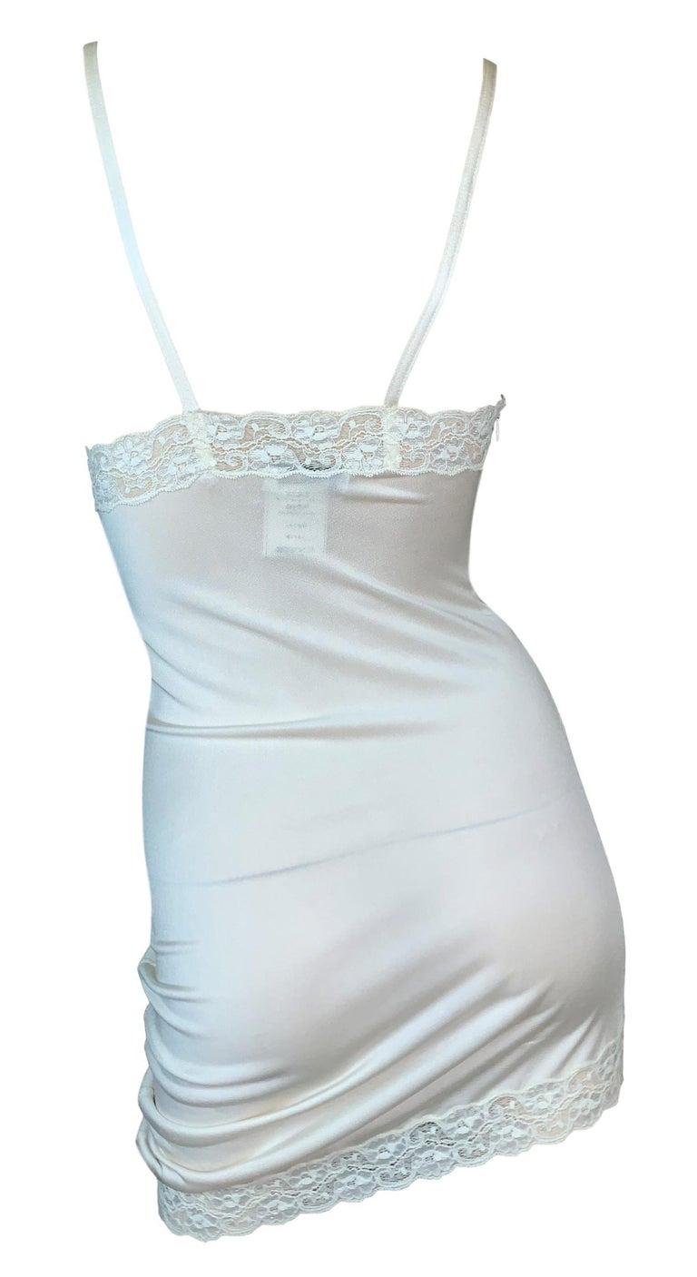 Gray S/S 2005 Christian Dior by John Galliano Runway Ivory Ruched Slip Mini Dress For Sale