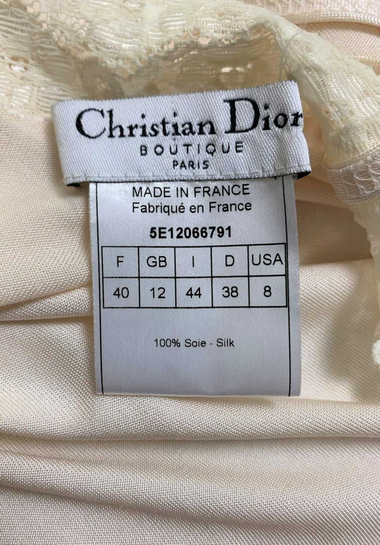 S/S 2005 Christian Dior by John Galliano Runway Ivory Ruched Slip Mini Dress In Good Condition For Sale In Yukon, OK
