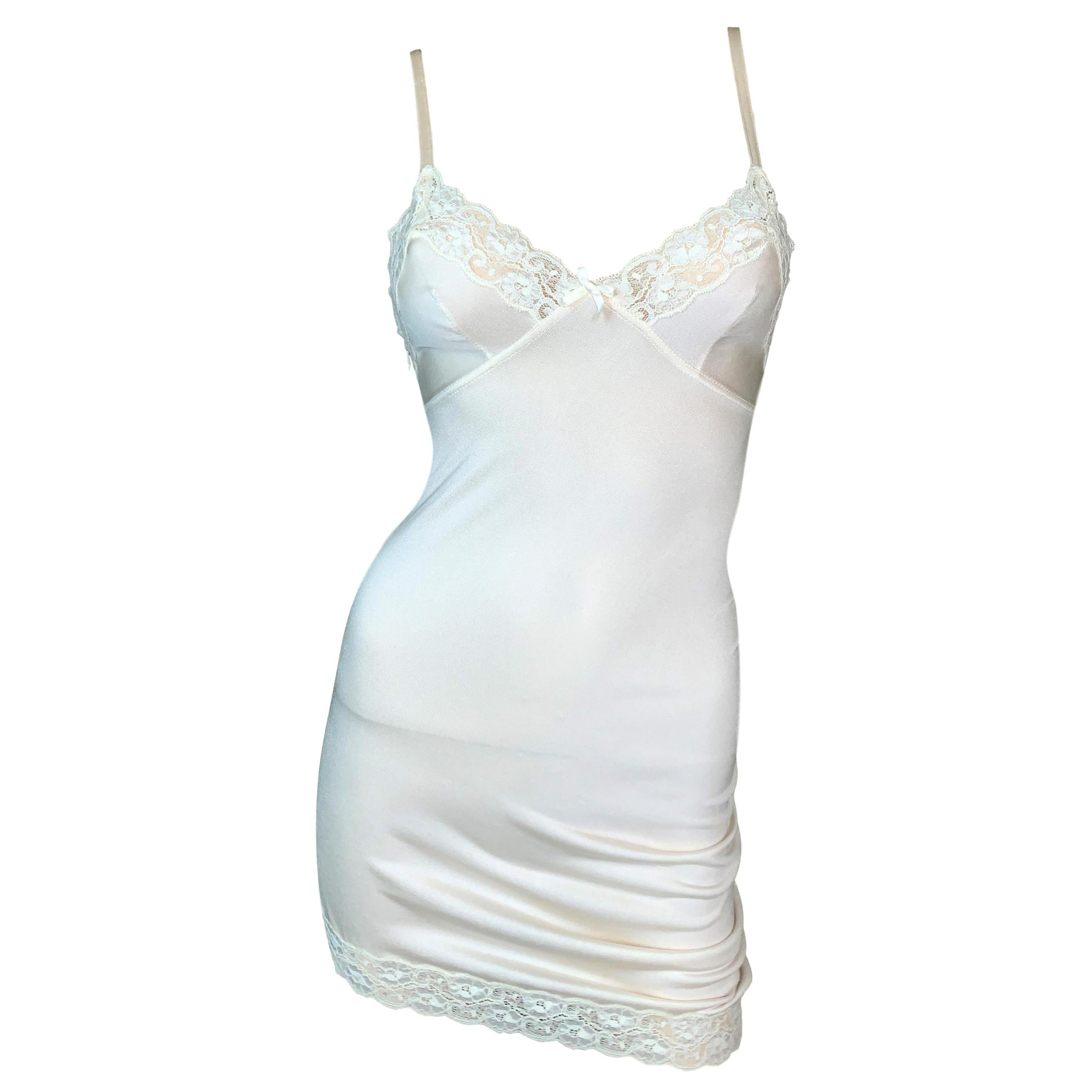 S/S 2005 Christian Dior by John Galliano Runway Ivory Ruched Slip Mini Dress