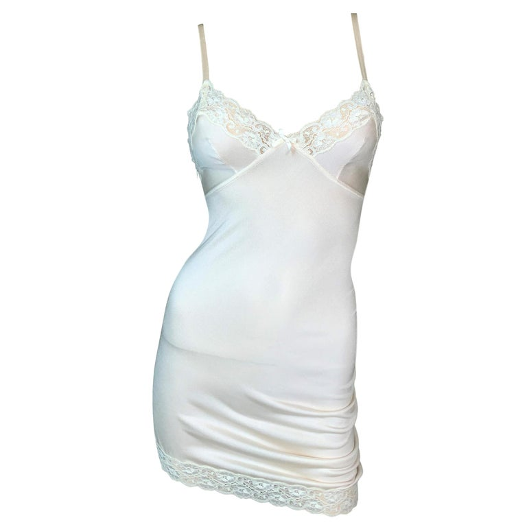 S/S 2005 Christian Dior by John Galliano Runway Ivory Ruched Slip Mini Dress For Sale