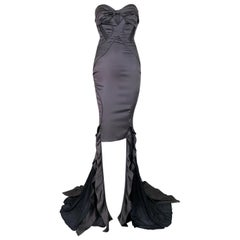 S/S 2005 Gucci Gunmetal Bustier Strapless Cut-Out Hi-Low Gown Dress 40