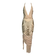 S/S 2005 Gucci Plunging Sheer Nude Silk Wiggle Dress w Fringe Ties