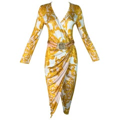 S/S 2005 Versace Runway 70's Style Gold Baroque Wrap Dress