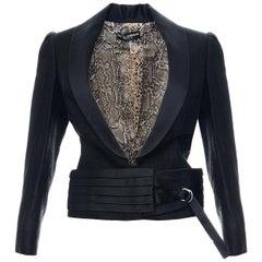S/S 2005 Vintage Dolce & Gabbana Black Cropped Tuxedo Blazer Jacket