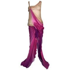 S/S 2006 Christian Dior John Galliano Runway Sheer Nude Pink Silk Gown Dress
