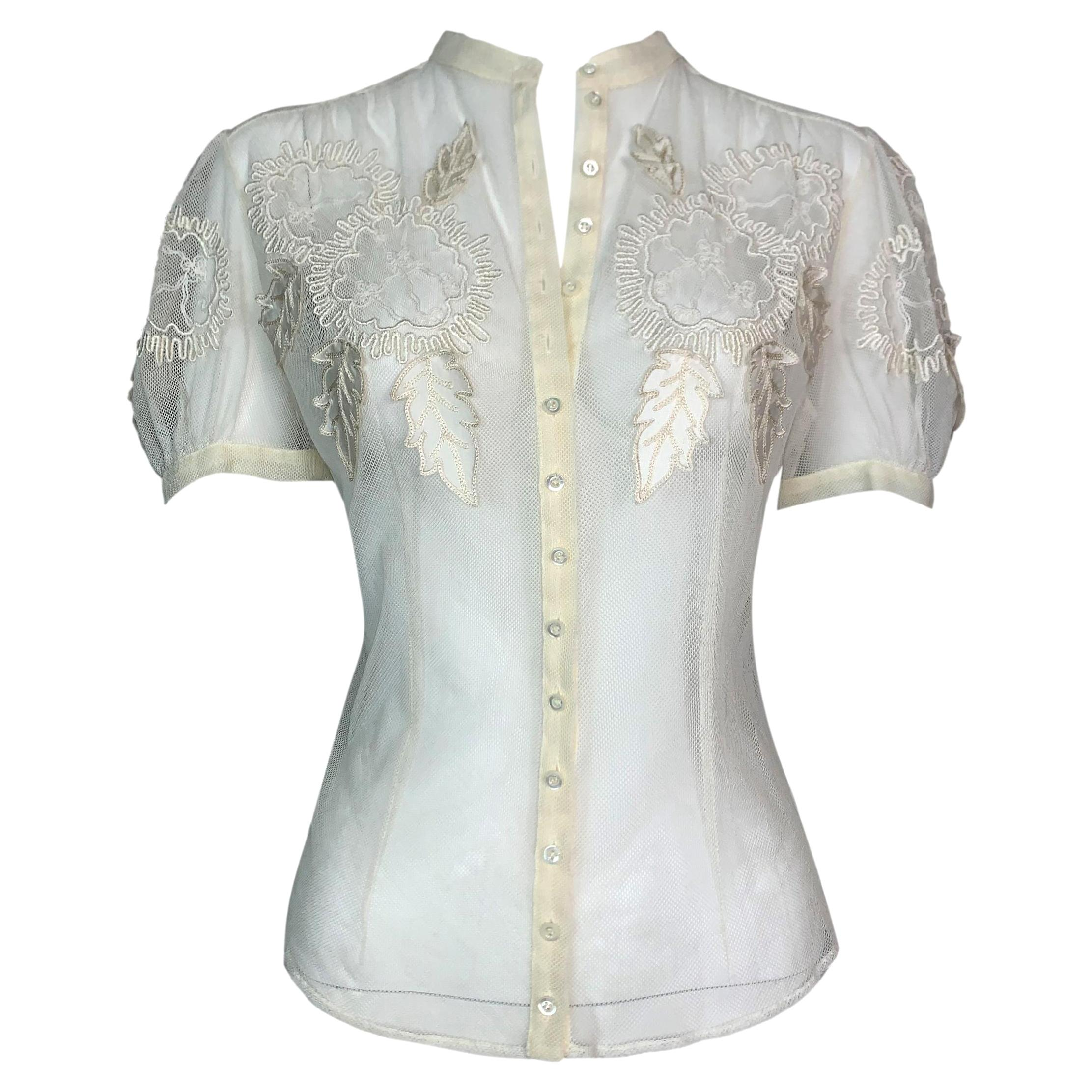 S/S 2006 Christian Dior John Galliano Sheer Cream Mesh Button Down Top