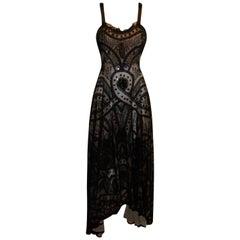 S/S 2007 Alexander McQueen Sarabande Museum Beaded Tulle Gown Dress 38