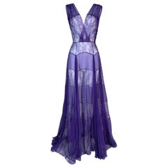 S/S 2010 Christian Dior Runway Sheer Plunging Purple Silk Lace Gown Dress
