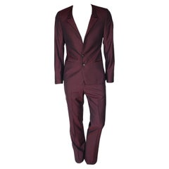 S/S 2011 look #19 NEW VERSACE BURGUNDY WOOL and SILK SUIT 48 - 38 (M)