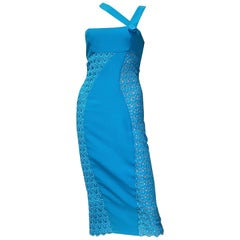 S/S 2011 look # 34 NEW VERSACE BLUE SILK EMBROIDERED Dress 38 - 2