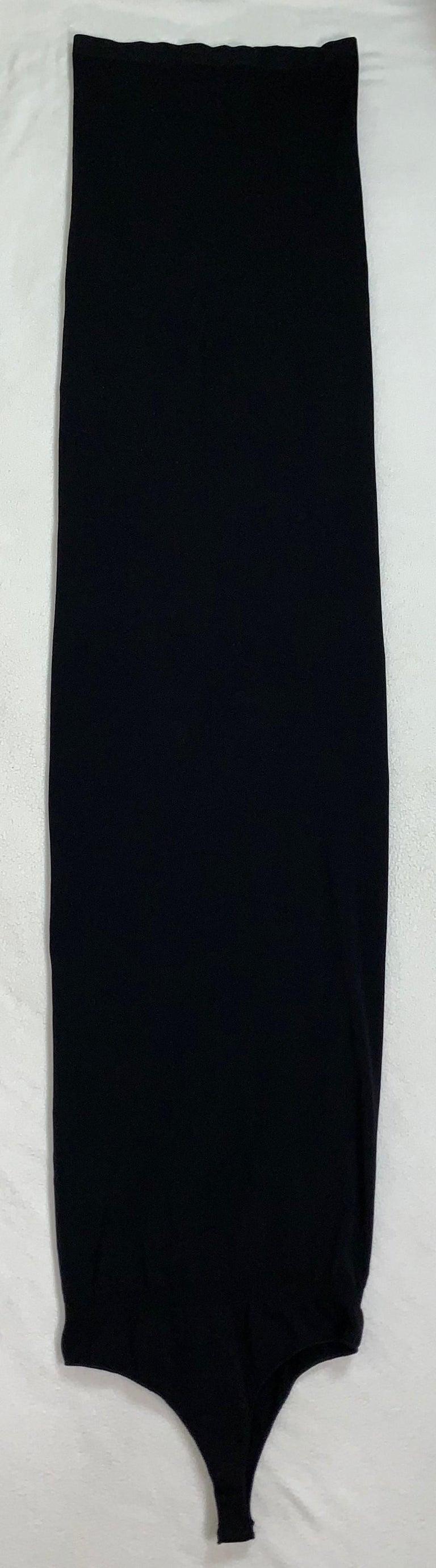 S/S 2011 Yves Saint Laurent Black Nylon Bodystocking Wiggle Dress Skirt M In Good Condition For Sale In Yukon, OK
