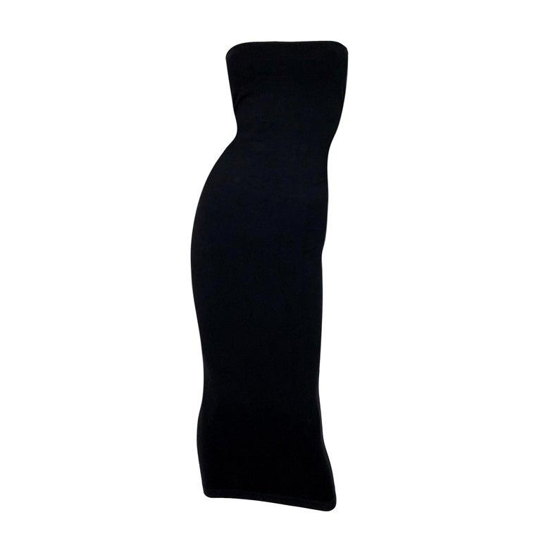 S/S 2011 Yves Saint Laurent Black Nylon Bodystocking Wiggle Dress Skirt M For Sale