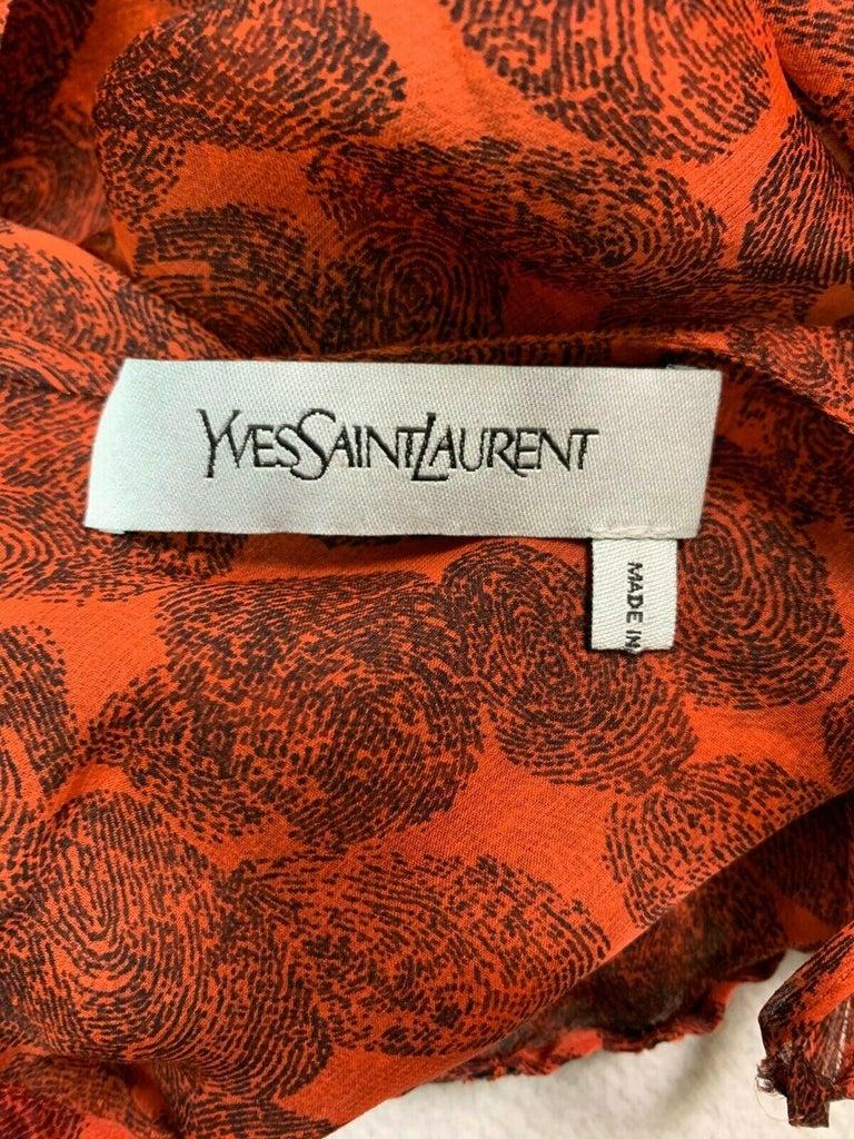 Women's S/S 2011 Yves Saint Laurent Sheer Fingerprint Red Silk Cut-Out Dress For Sale