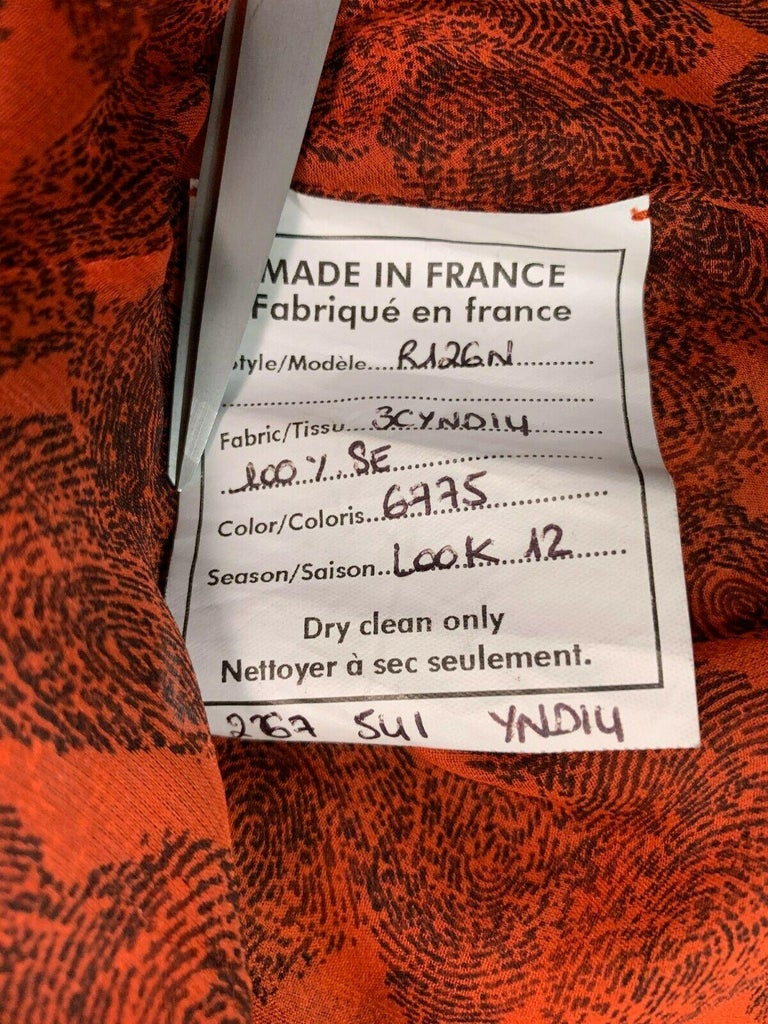 S/S 2011 Yves Saint Laurent Sheer Fingerprint Red Silk Cut-Out Dress For Sale 1
