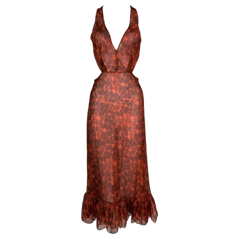 S/S 2011 Yves Saint Laurent Sheer Fingerprint Red Silk Cut-Out Dress For Sale